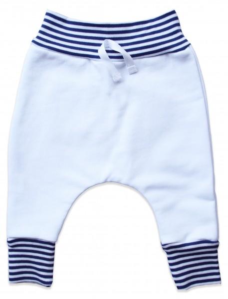 Baby Jersey Hose im Baggy Style, Bündchen weiß-navy