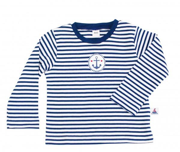 T-Shirt mit Druck, Langarm, navy-gestreift NEU