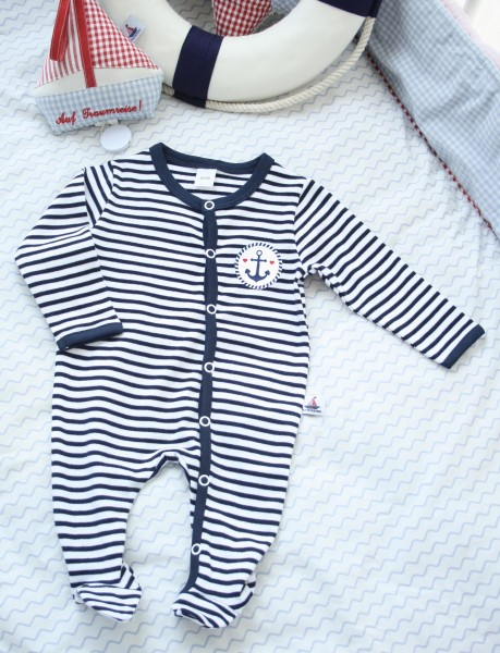 Babystrampler mit Druck, navy-gestreift