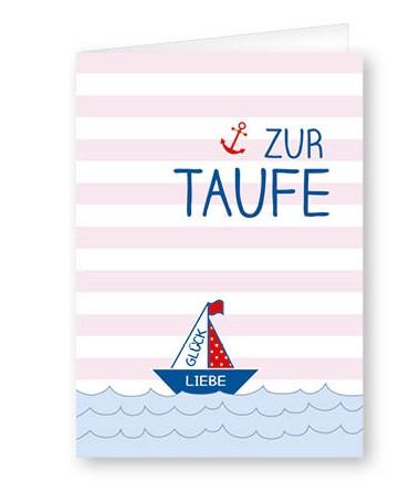 Taufkarte Segelschiff rosa