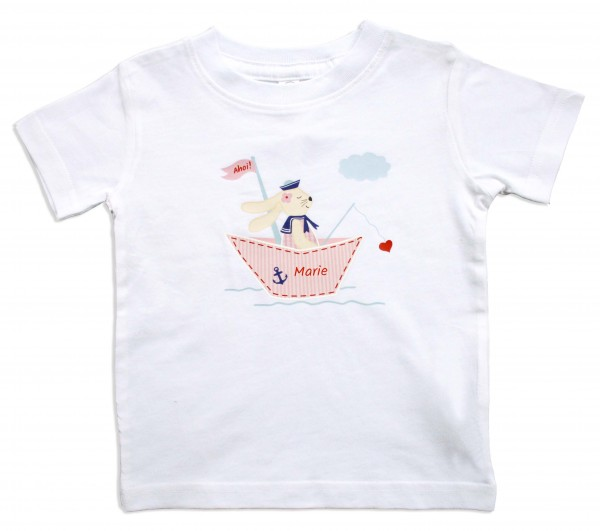 T-Shirt mit Hase rosa, personalisierbar