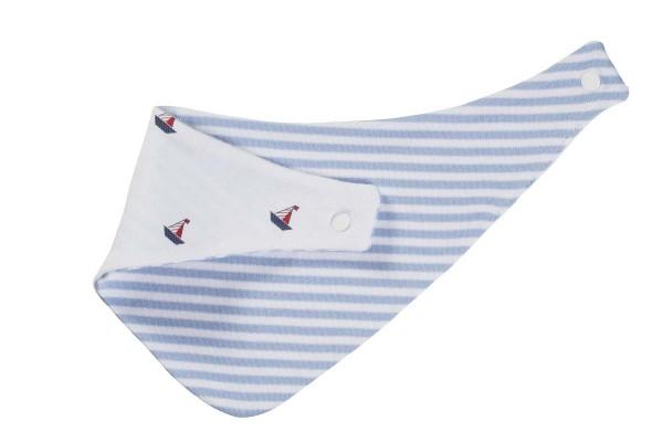 Halstuch hellblau-gestreift, Rückseite weiß mit Schiffchen