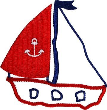 Segelschiff Stickerei