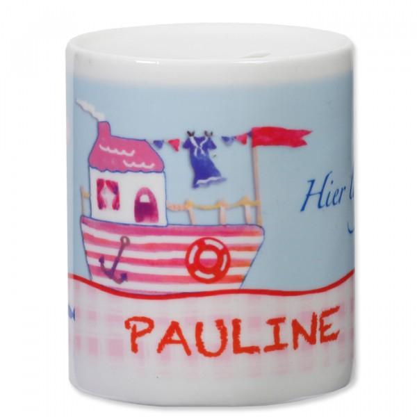 Spardose Hausboot rosa aus Keramik personalisiert
