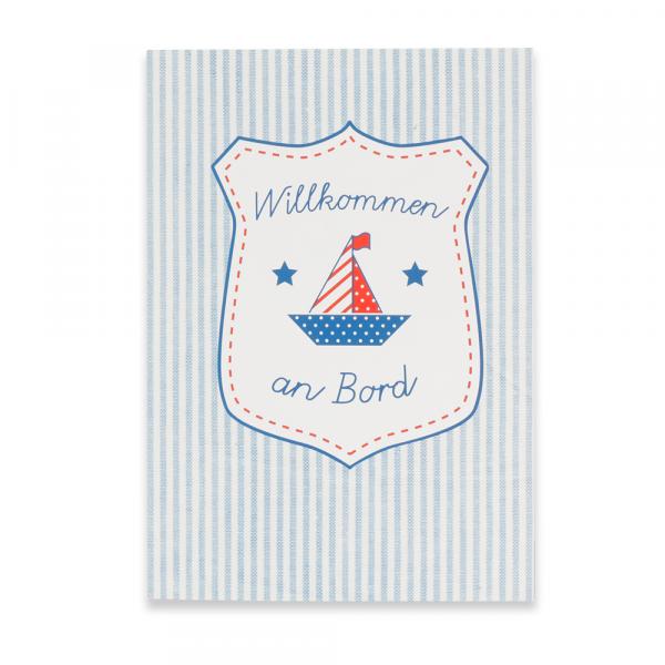"""Geburtskarte Emblem """"Willkommen an Bord"""" blau"""