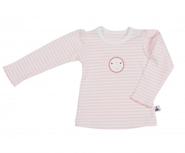 Langarmshirt, rosa-gestreift mit Druck
