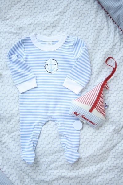 Babystrampler mit Druck, hellblau-gestreift
