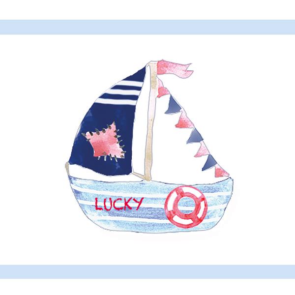 Kinderzimmerbordüre Segelboot
