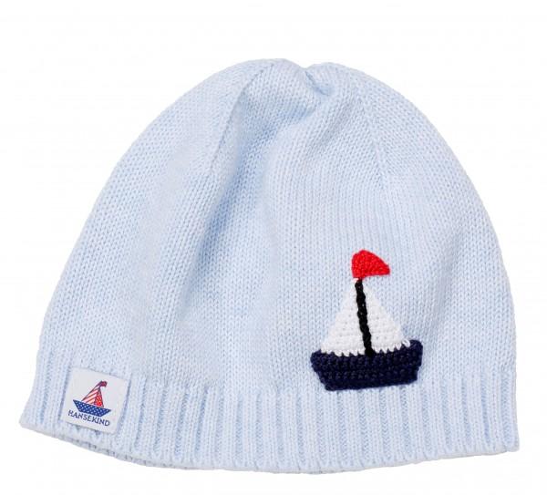 Babystrickmütze mit Segelschiff, blau