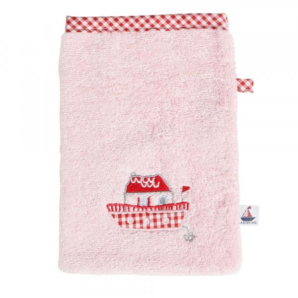 Waschhandschuh, rosa Frottee, Hausboot