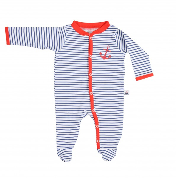 Baby Strampler Anker in navy gestreift
