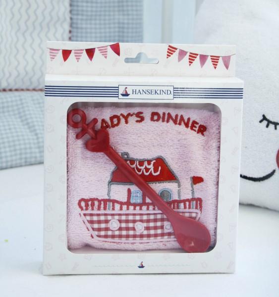 Geschenkeset Lätzchen mit Löffel, rosa Frottee, Lady´s Dinner