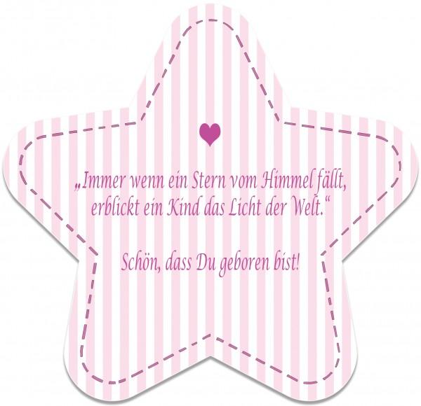 Geburtskarte Stern, rosa