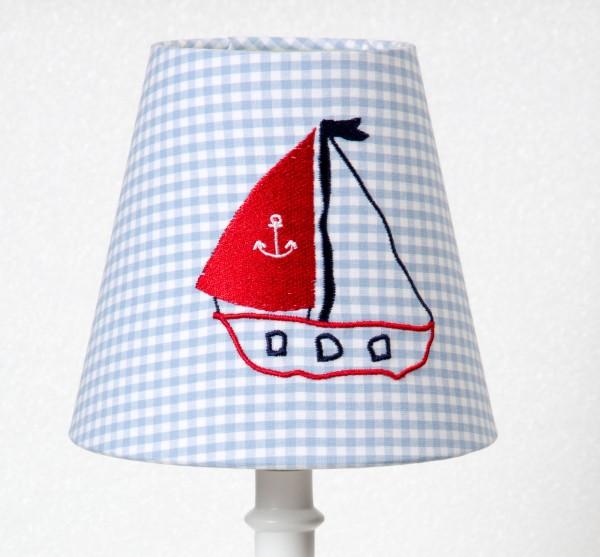 Lampenschirm Segelschiff Stickerei
