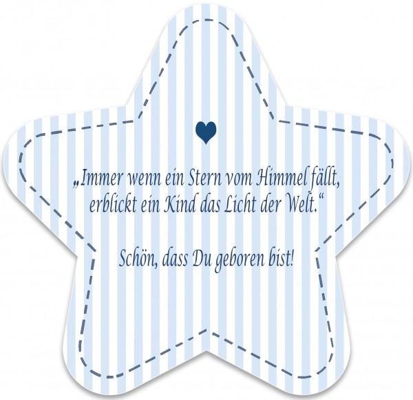 Geburtskarte Stern, blau