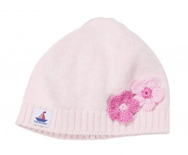 Babystrickmütze mit Blume, rosa