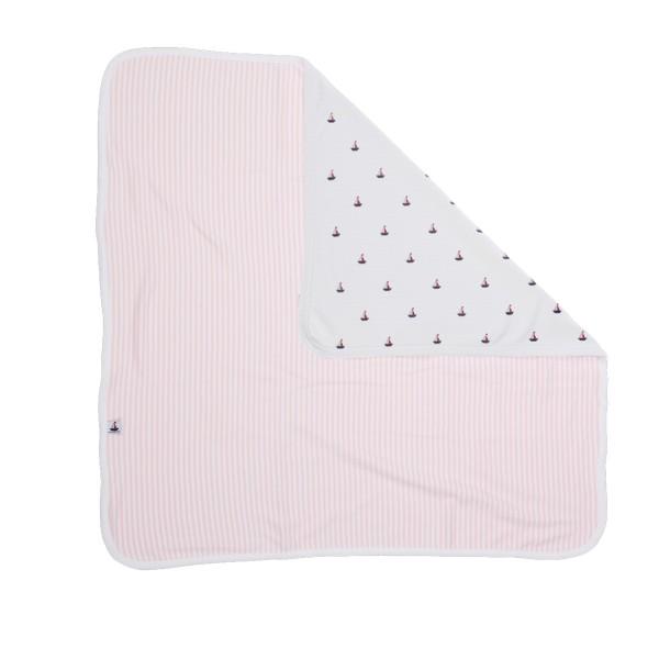 Babydecke, rosa-gestreift, Rückseite weiß mit Schiffchen, wattiert