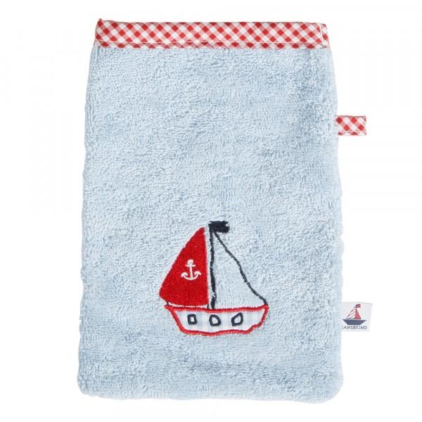 Waschhandschuh Segelboot hellblau